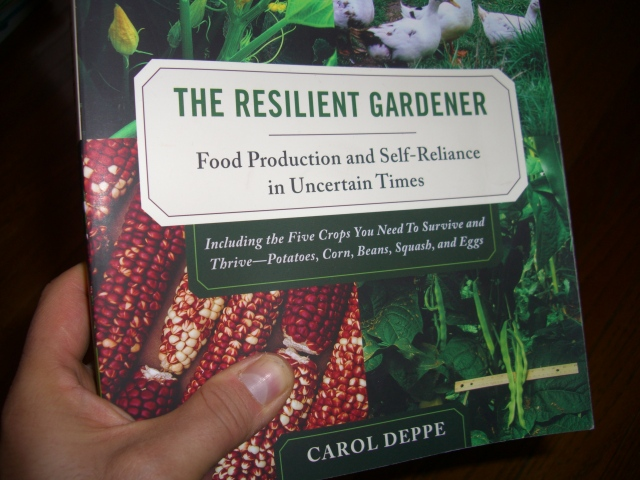 Photo of my copy of The Resilient Gardener.